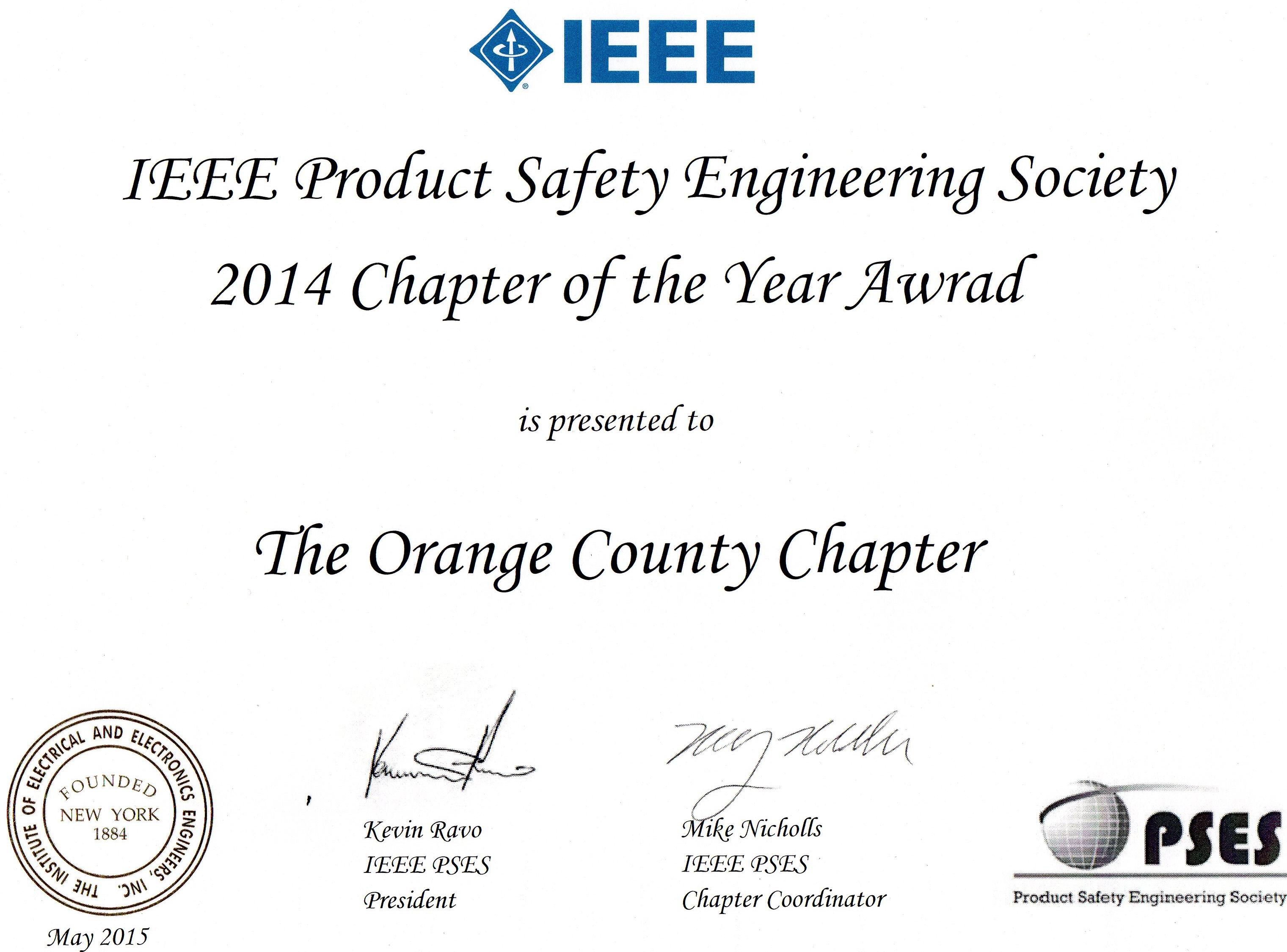 ieee product safety engineering society orange county chapter the orange county california chapter of the ieee product safety engineering society holds monthly technical presentations on cutting edge topics relating